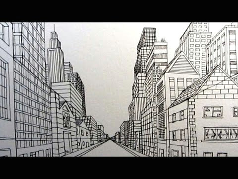 how to draw a city street in one point perspective narrated