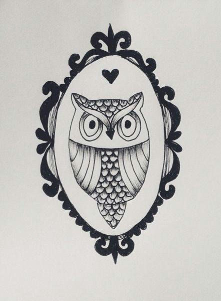 0wl Drawing My Mini Owl Drawing Owl Drawing Draw Frame Animal Tattoo
