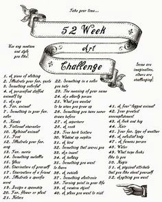 a 52 week art challenge 1 challenge for every week