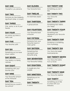 a lot of people have messaged me about the 30 day challenge list i hadn t realized the link on my old post was down so i m reposting it now