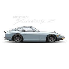 rs watanabe nissan datsun 240z zcar z s30 300zx 350z 370z nismo rswatanabe kyusha vintage jdm cars carart art drawing vector design