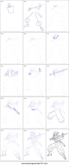 how to draw trunks from dragon ball z printable step by step drawing sheet drawingtutorials101