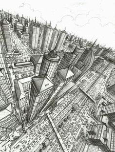three point perspective city overhead google search three point perspective 1 point perspective drawing