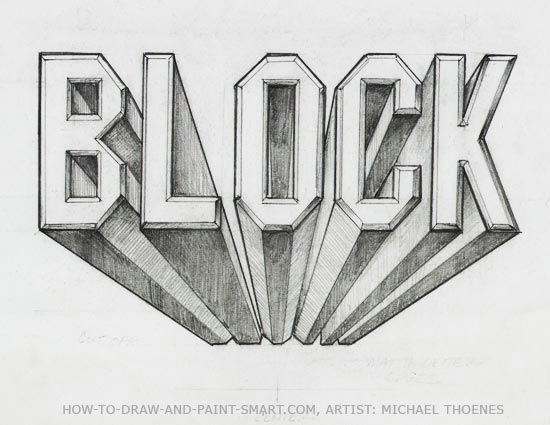 5th step by step printout for block lettering in 1 pt perspective