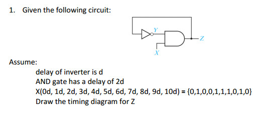 1 given the following circuit assume delay of inverter is d and gate has