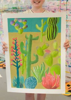 colorful southwestern middle school cacti painting project