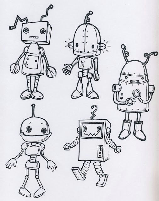 such character and detail in a limited environment da colorare robot sketch cute drawings for
