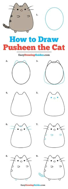 how to draw pusheen the cat really easy drawing tutorial