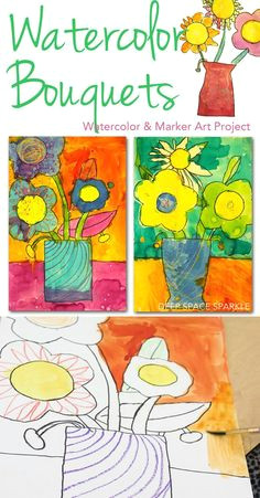 how to draw paint a bouquet of flowers