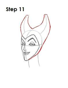 how to draw maleficent step 11 cartoon drawing tutorial cartoon drawings disney sleeping beauty
