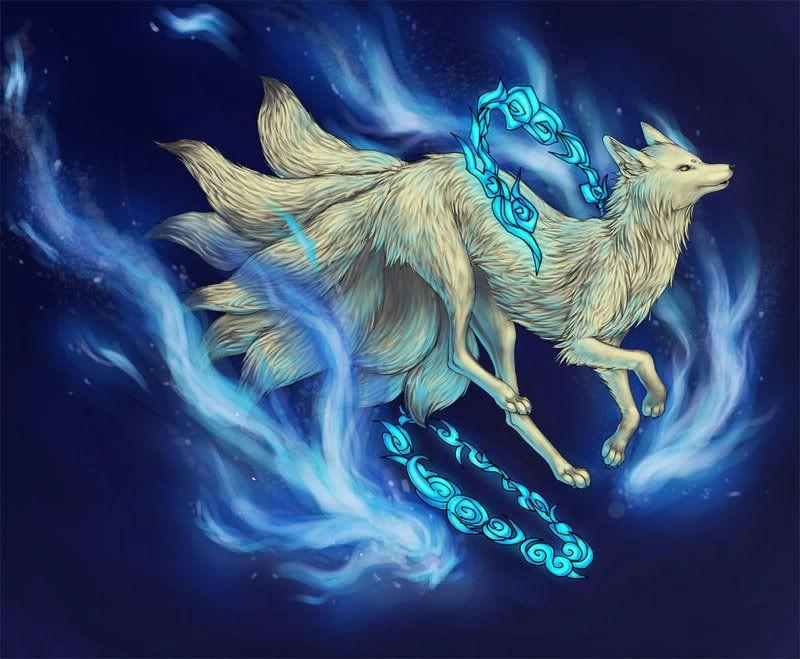 white nine tailed fox