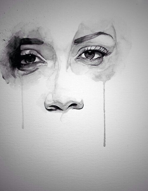 crying girl drawing cry drawing drawing tears watercolor eyes watercolor painting