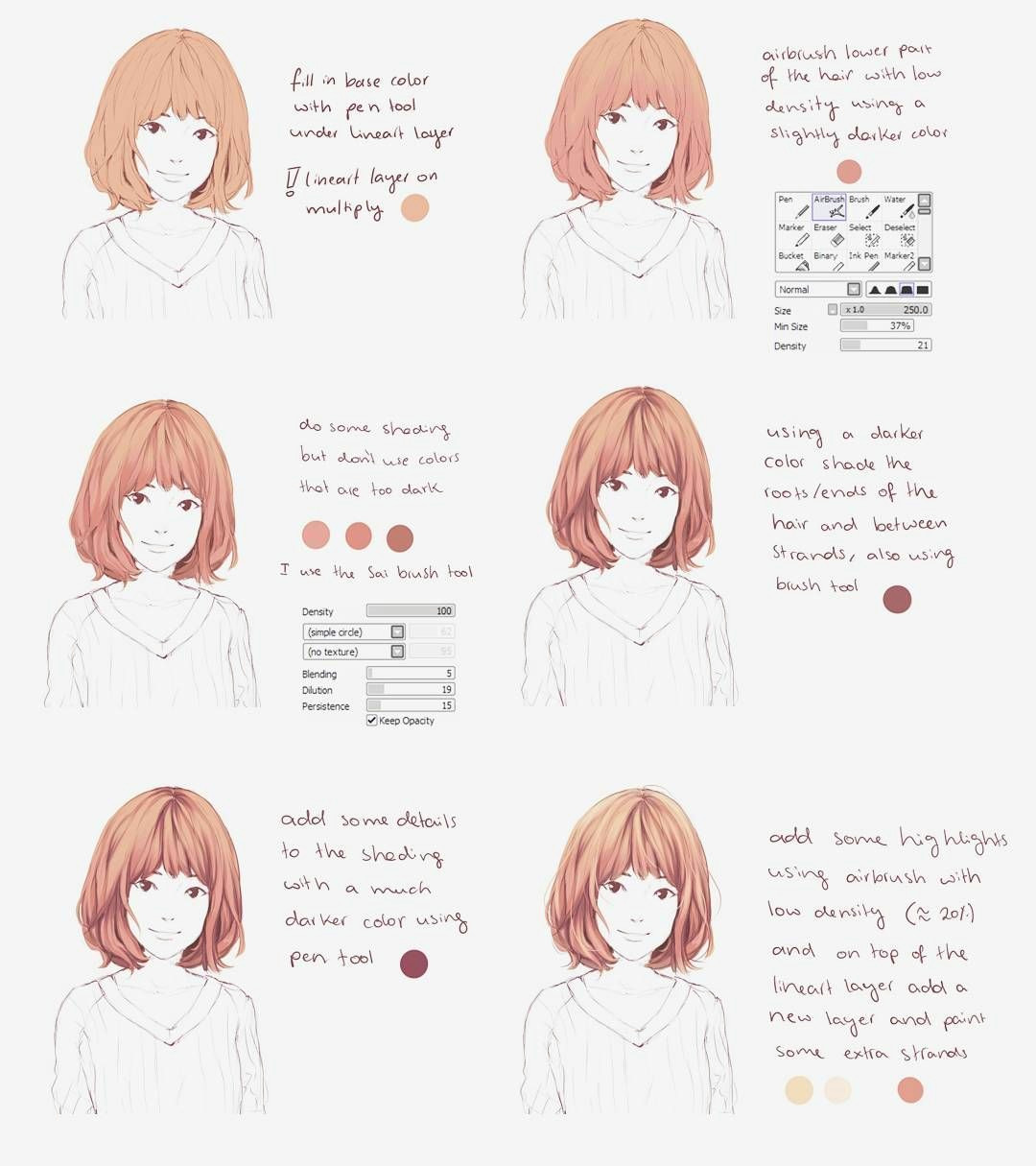 this is for paint tool sai a small hair coloring tutorial i hope this helps