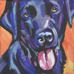 labrador retriever modern dog art print of black lab pop dog art painting bright colors 8x8