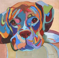 daily painting all played out contemporary abstracted dog painting painting by artist carolee