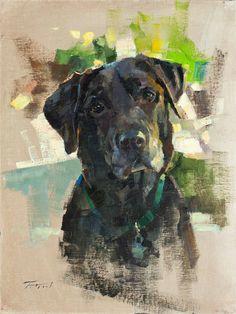 patrick saunders fine arts pet portrait painting oil on linen kobe watercolor paintings