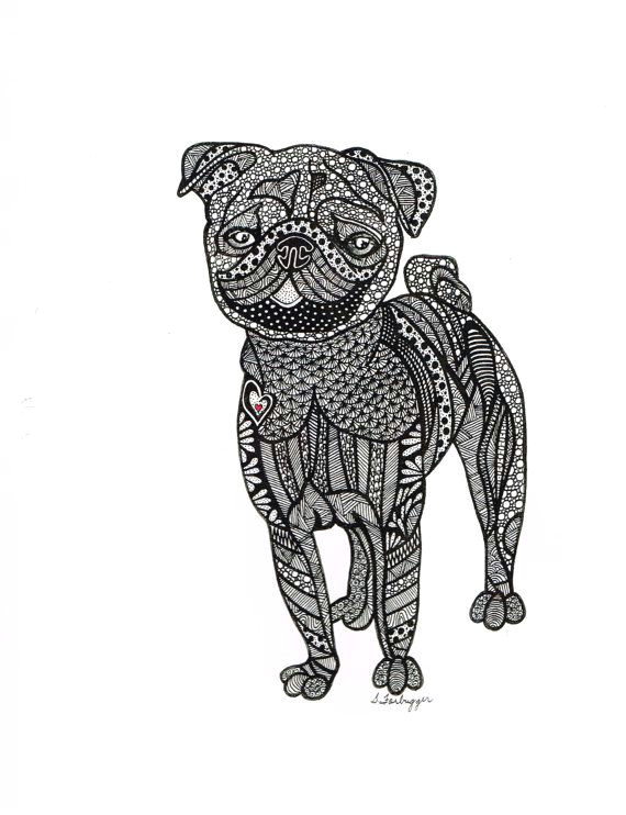 abstract drawing using pen prints are 8 x 10 this pug was drawn for my daughter she loves pugs and i found this to be quite challenging