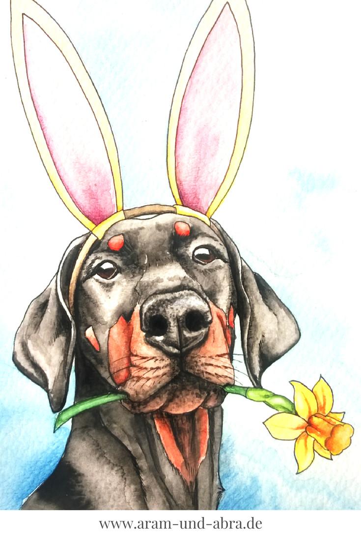 illustration zeichnen aquarell ostern hund dobermann blume