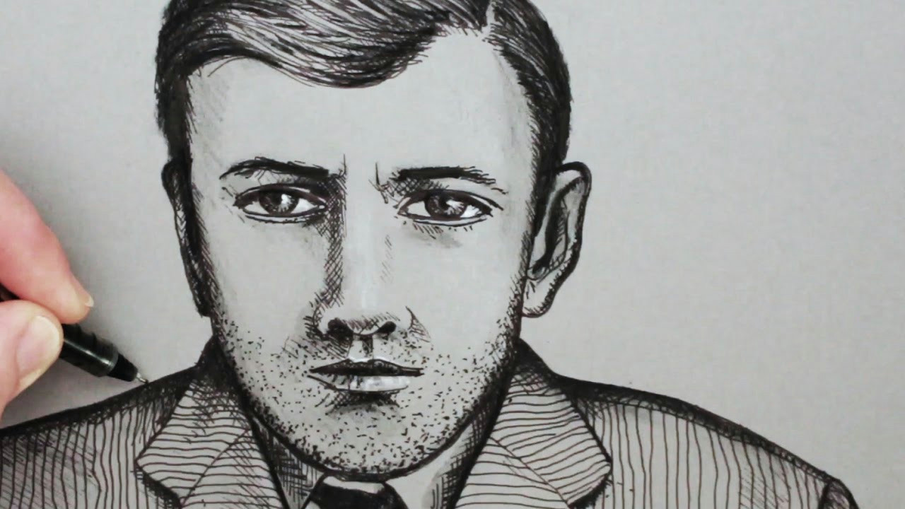 how to draw a face of a man pen portrait