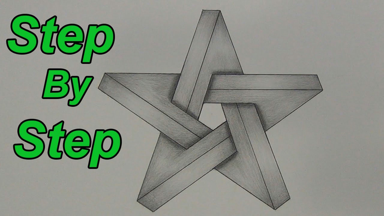 how to draw an impossible star step by step 3d star impossible shapes youtube