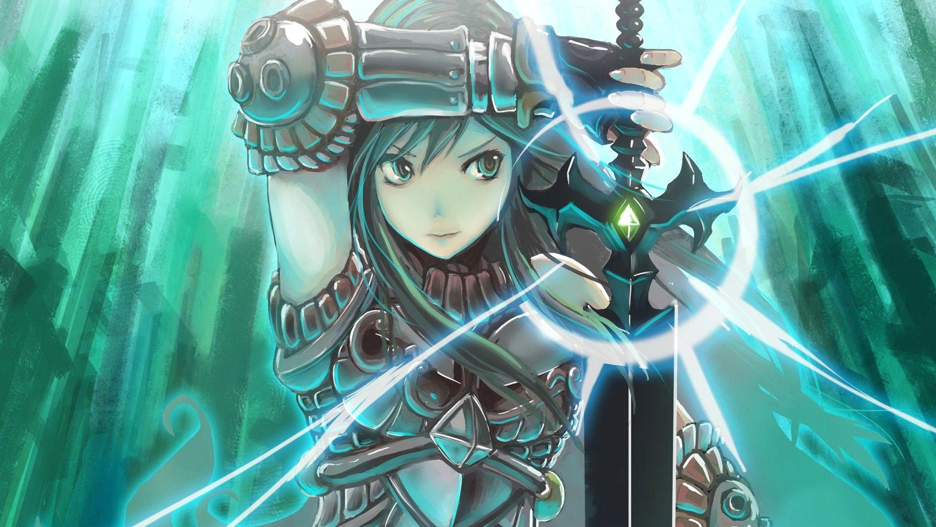 anime 1920x1080 anime fantasy art anime girls sword armor original characters