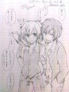 ansatsu kyoushitsu assasination classroom karma akabane and nagisa shiota homeroom teacher nagisa and karma