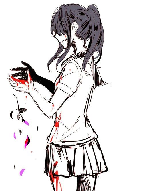 bloody anime girl yandere