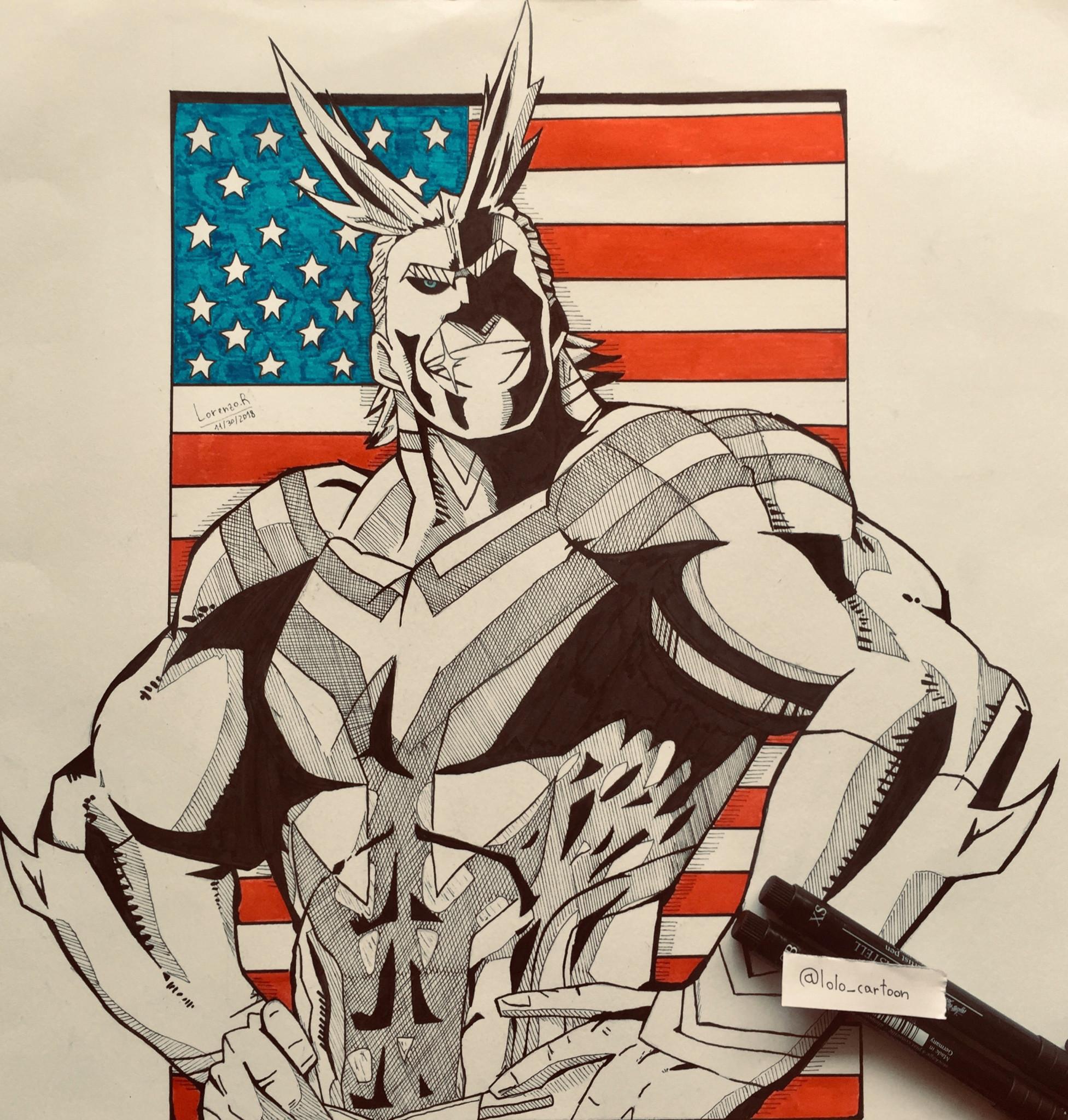 boku no hero academia myheroacademia anime animedrawing manga style animeart art drawings drawing draw allmight deku america follow and like for more