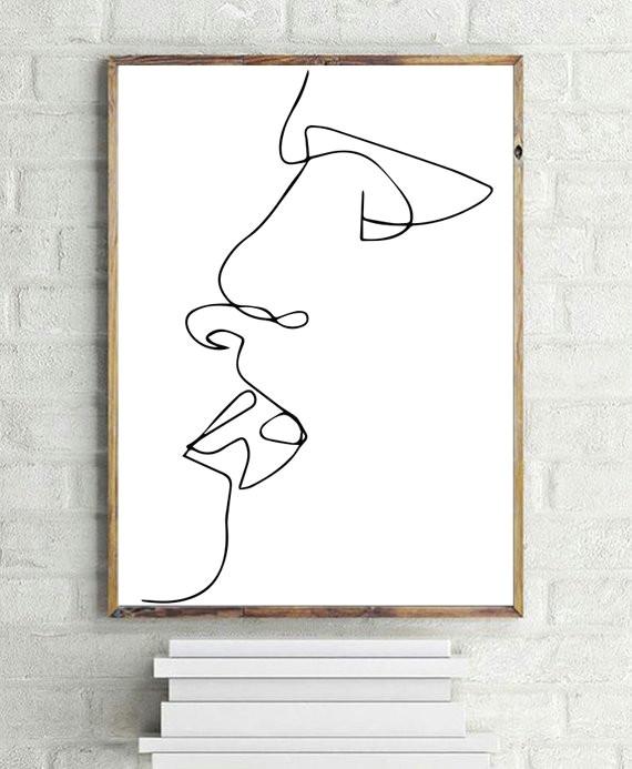 kiss print line art b and w printable art minimalist print digital download one line drawing
