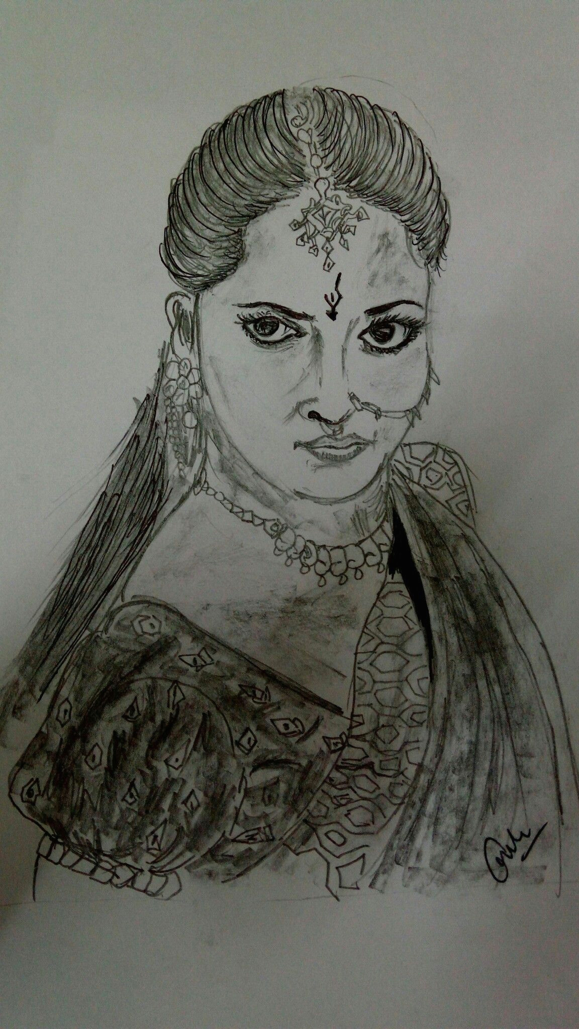 Bahubali 2 Drawing Easy Bahubali 2 Sketch Of Anushka Shetty Sketching Of Devsena