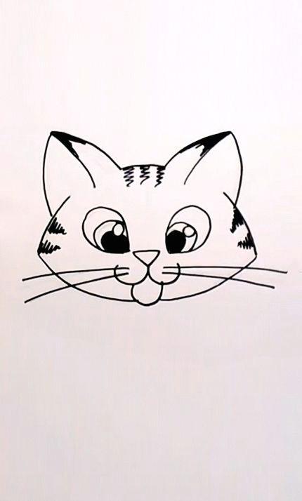 drawing a cartoon tabby cat face
