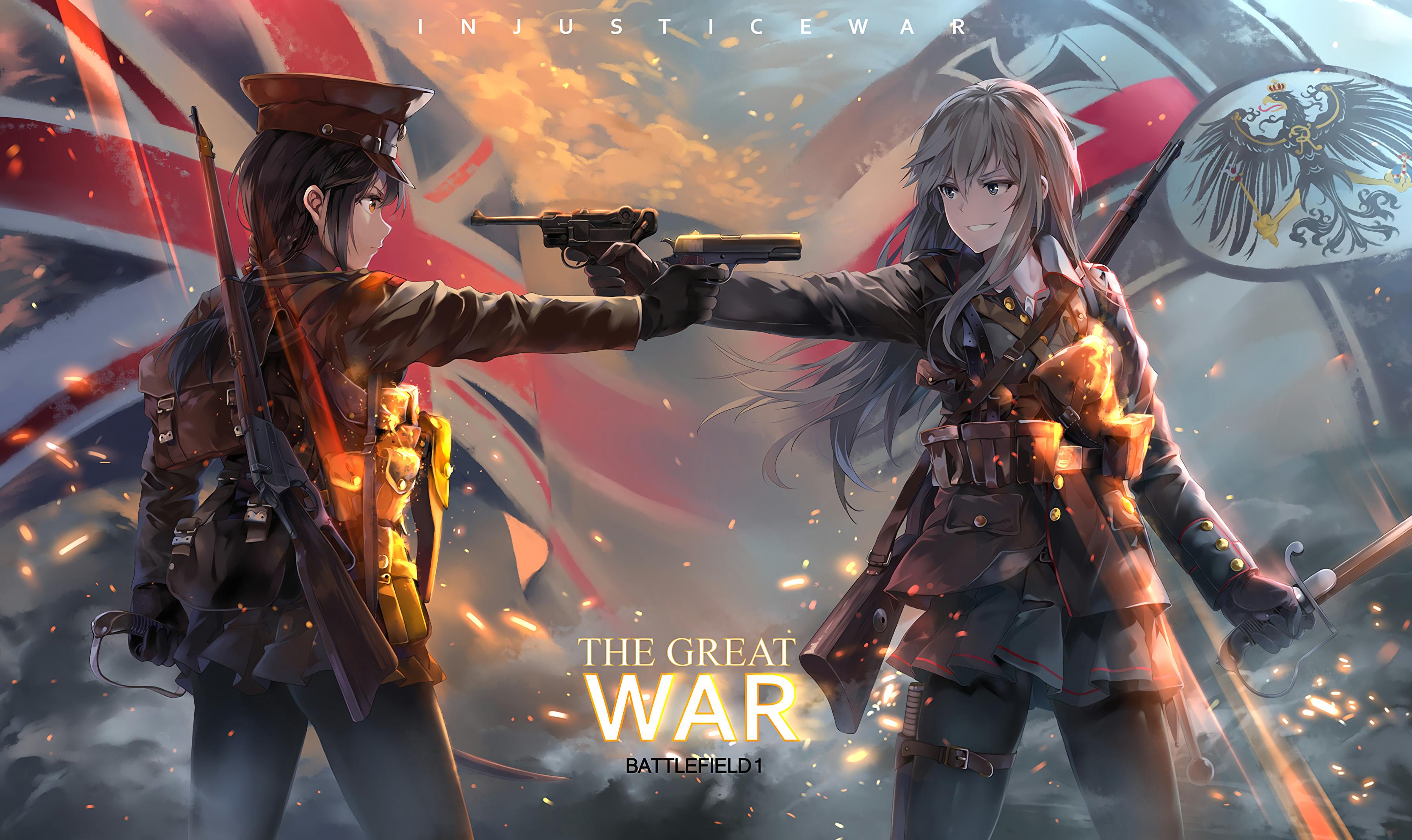 anime 3600x2142 anime anime girls battlefield battlefield 1 uniform gun weapon british army german army smiling backpacks sword military war sparks