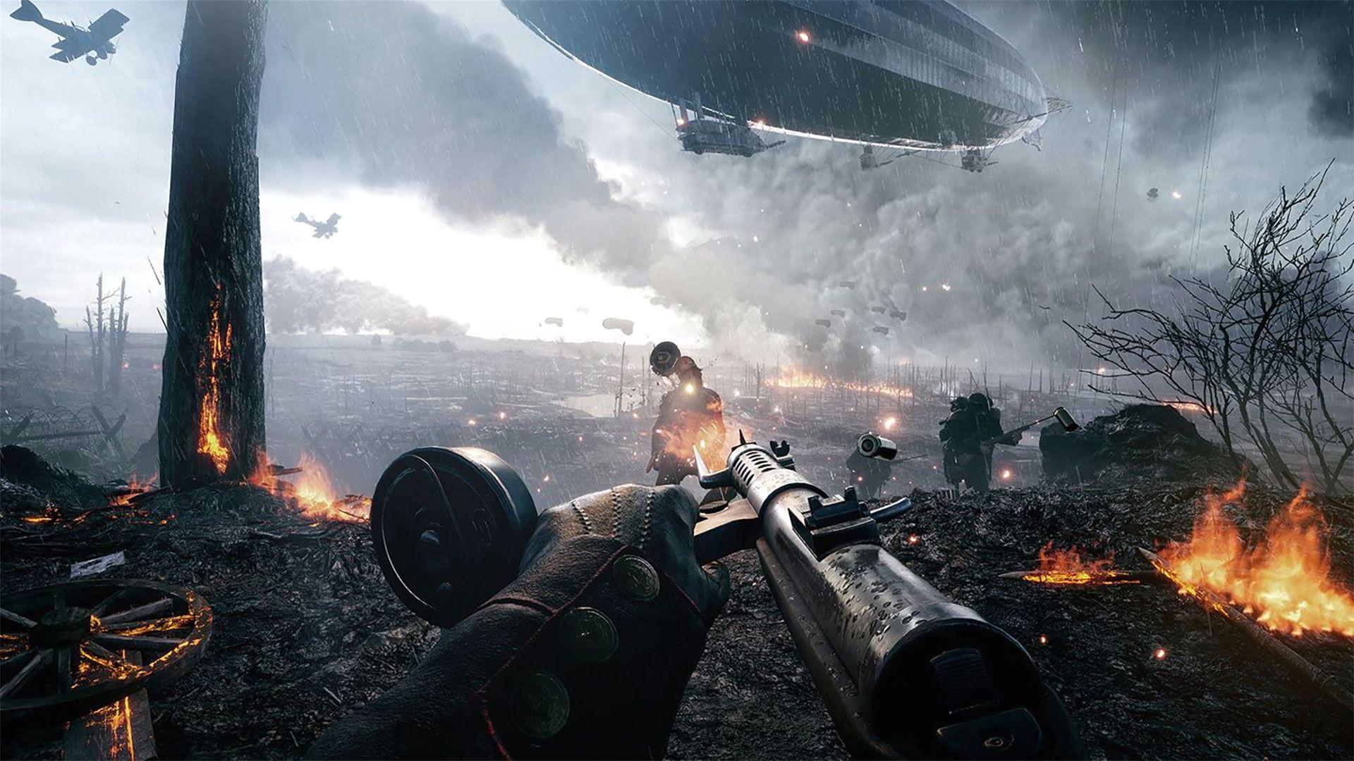 battlefield 1 aiming a gun on a flaming battlefield