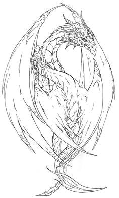 yin yang dragon tattoo lines