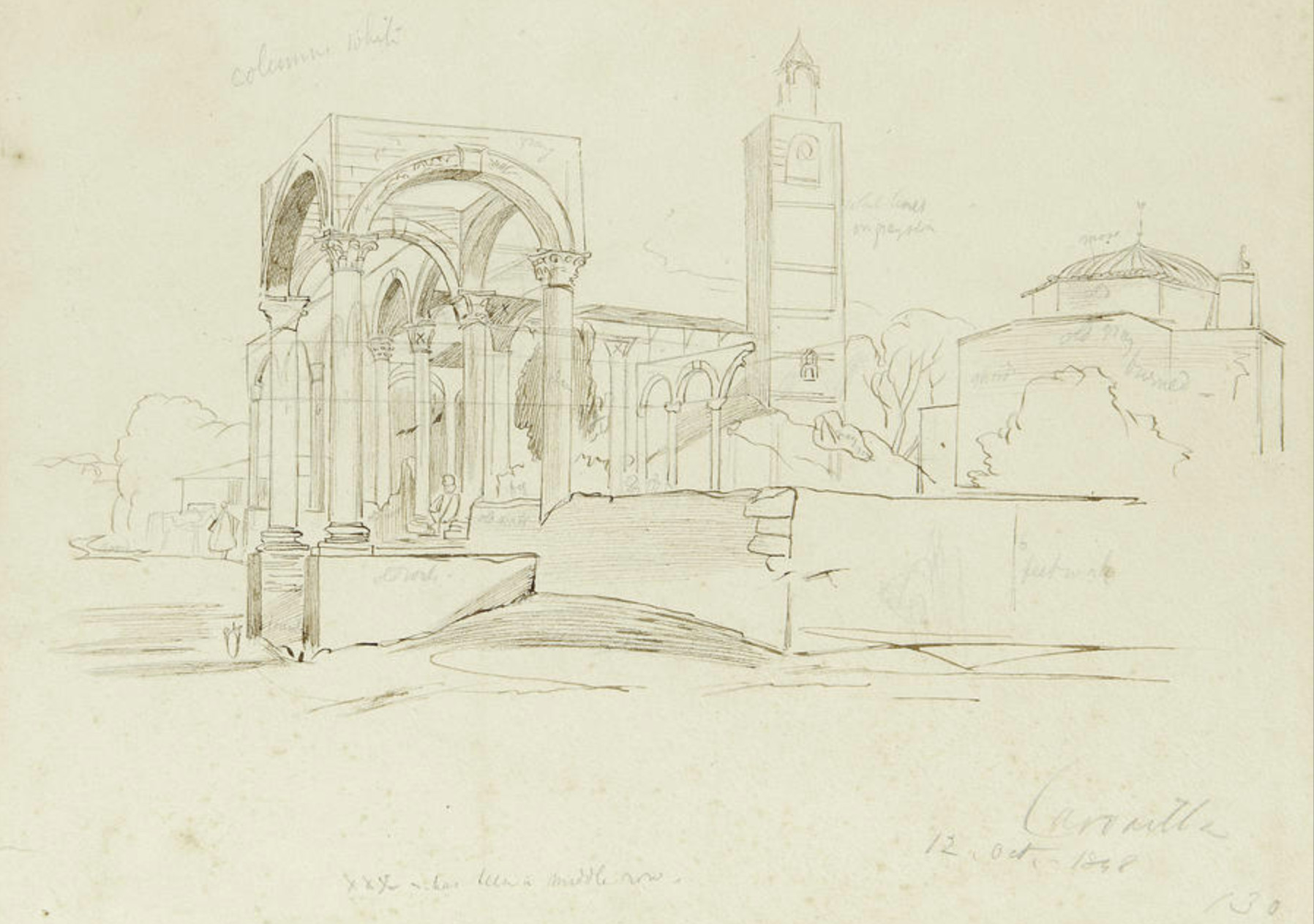 file pencil drawing of kubelie mosque and the clock tower kavaje png