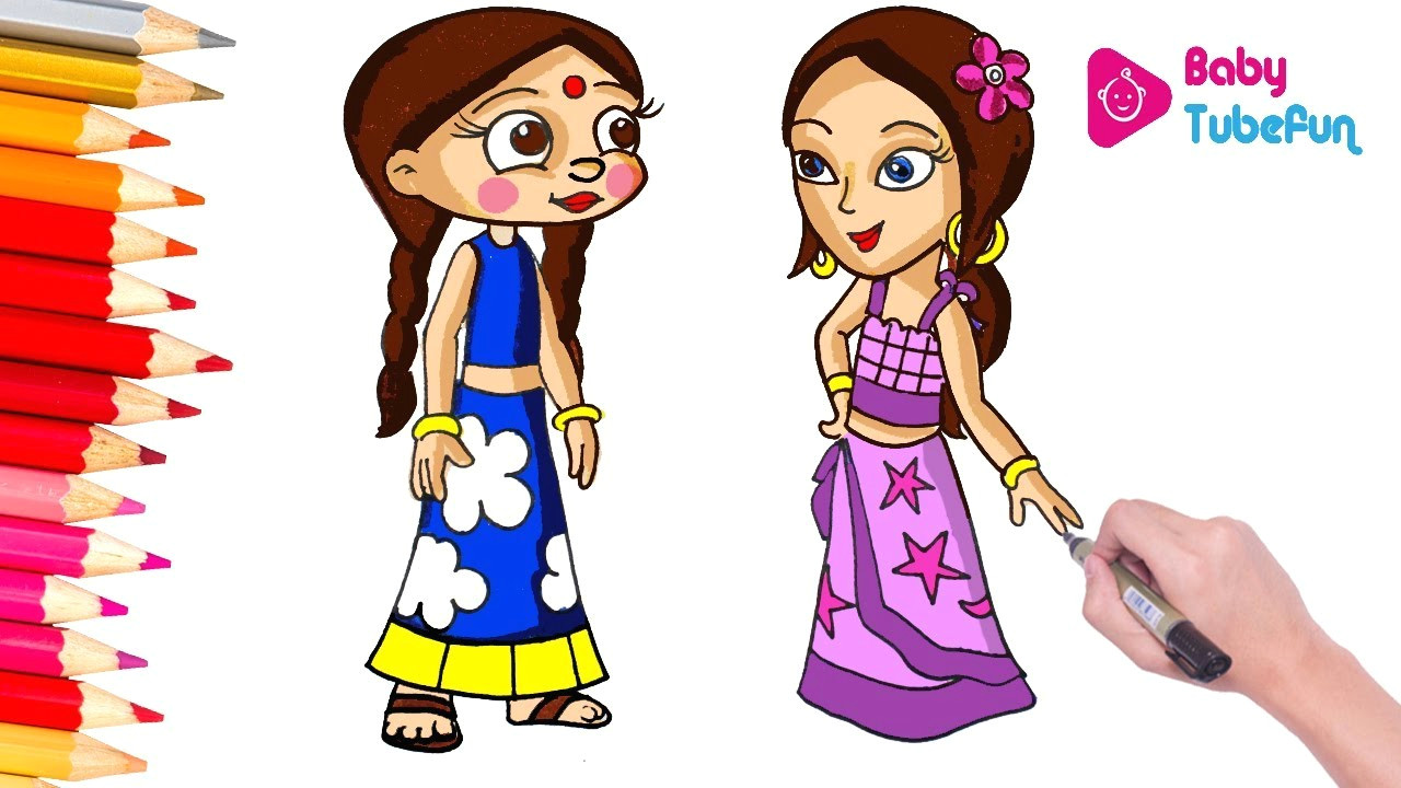 coloring chutki and indumati color swap chhota bheem and krishna colouring page