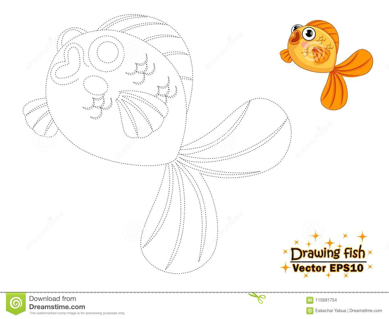 drawing the cute cartoon fish and color educational game for kids vector illustration
