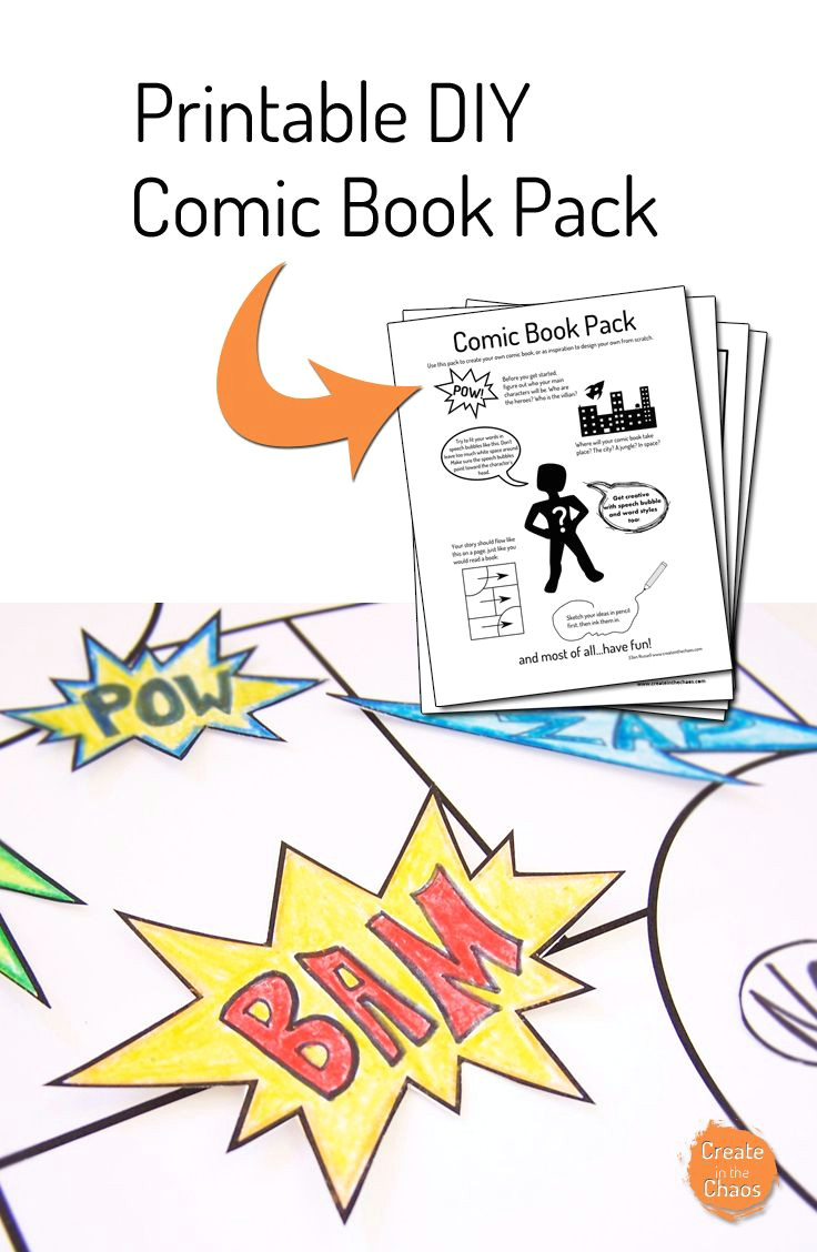 a fun way to help kids be creative printable make your own comic book pack www createinthechaos com
