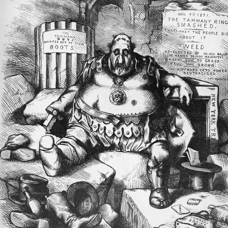 thomas nast cartoon depicting a defeated boss tweed in november 1871