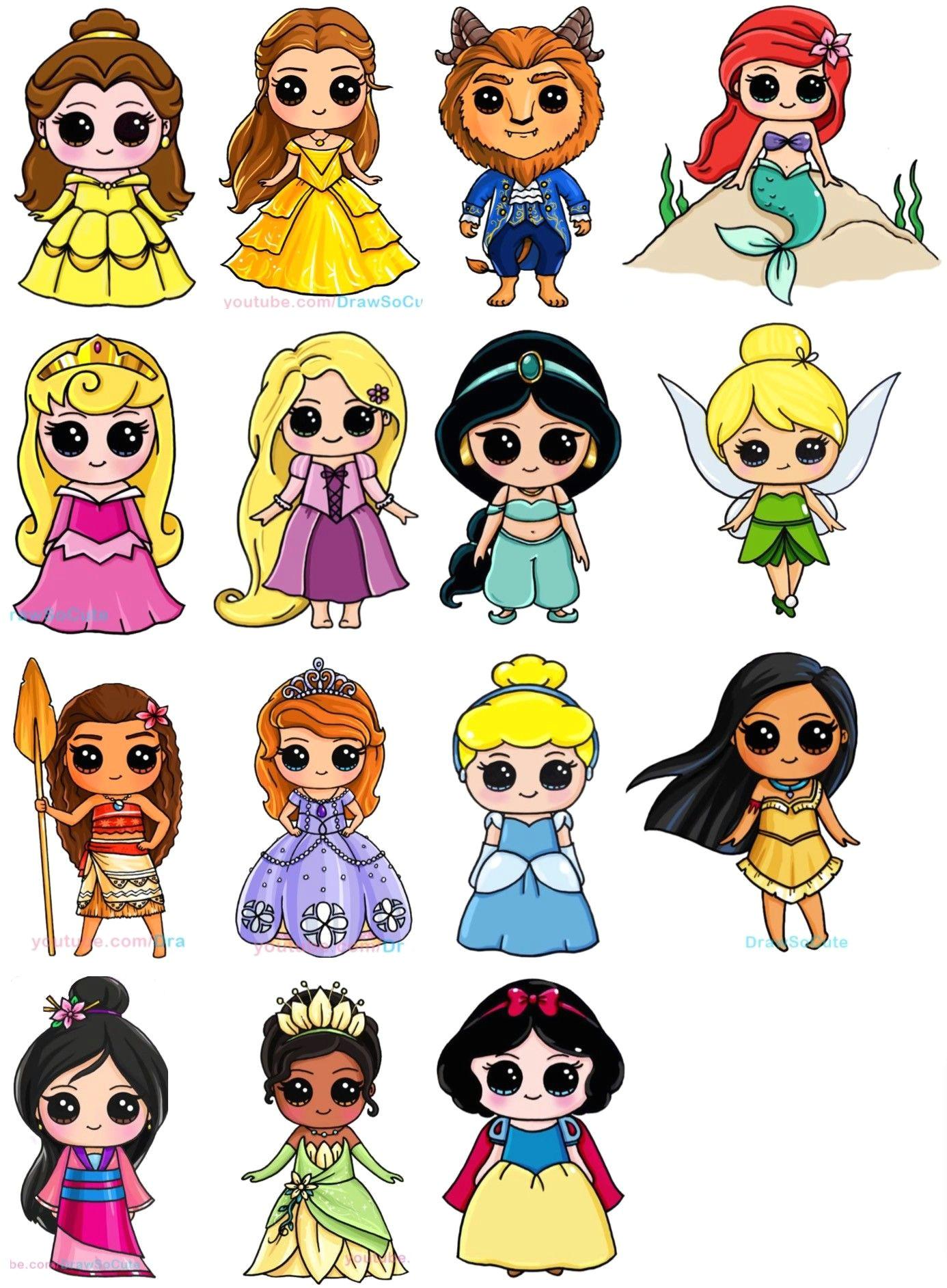 disney kawaii drawings fun drawings cartoon drawings disney princess art disney princess