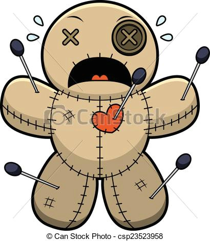 scared cartoon voodoo doll csp23523958