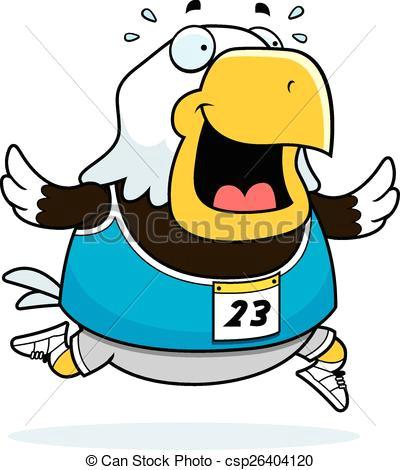 cartoon eagle running race csp26404120