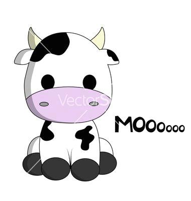 cute cow cartoon vector on vectorstocka