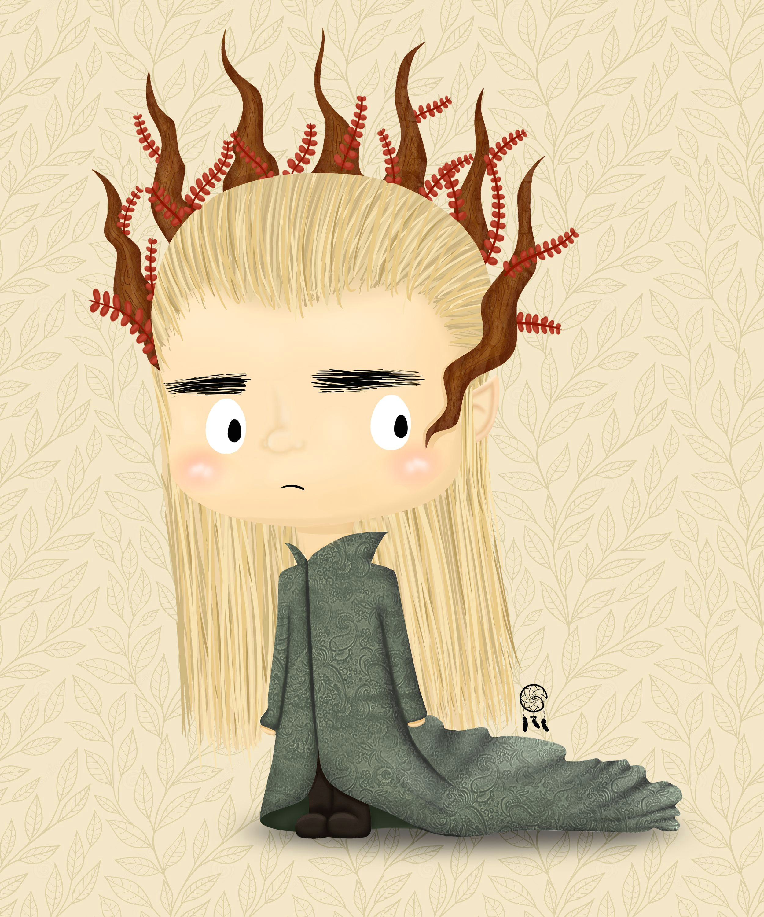 lil thranduil fan arta the hobbit trilogy the elven king of mirkwood chibi cartoon