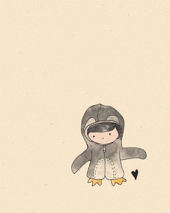 original penguin illustration print etsy