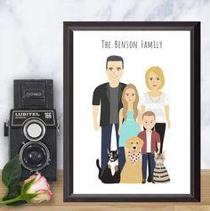 custom illustrated family portrait full body illustration family drawing cartoon family drawing