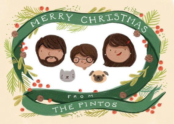 custom illustrated family portrait christmas by kathrynselbert 55 00