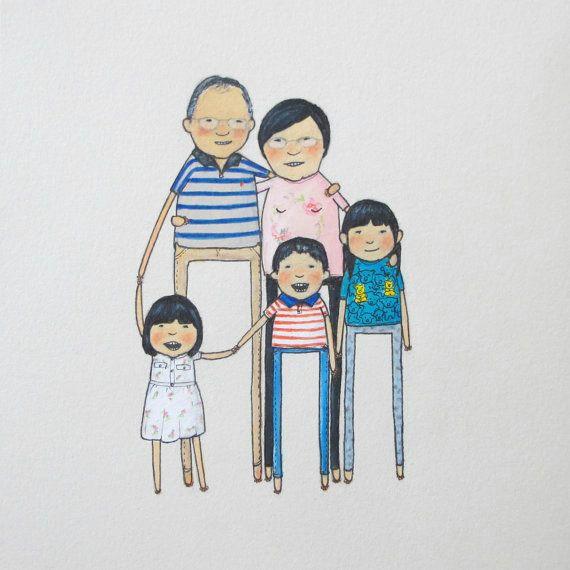 custom portrait 4 big people 1 toddler by peopleyoumaymeet