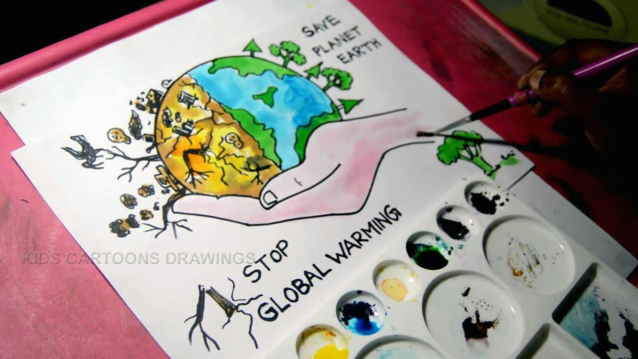 how to draw stop global warming and save planet earth drawing for kids kids cartoon drawings