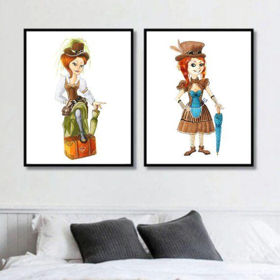 wall art set of 2 prints character design drawing fantasy cartoon poster colorful artwork girls room cartoon nursery cartoon girl gift wallart walldecor